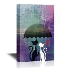 wall26 - Canvas- Black and White Cats under an Umbrella with Red Hearts -24x36