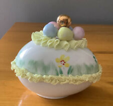 Vintage Irish Dresden Green Lace Egg w/Colored Easter Eggs~Gold~Pink~Blue~Yello w