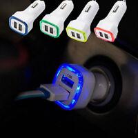 LED Dual USB Car Charger 2 Port Adapter Cigarette Lighter For Cell Phone Random