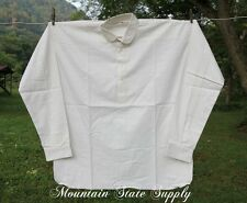 "48"" Small Civil War Reenactors Soldiers White Muslin Cotton Long Sleeve Shirt"