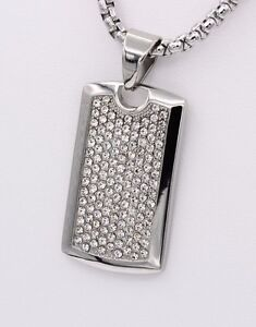 DOG TAG STAINLESS STEEL WHITE RHINESTONES 1.5' INCH  DOG TAG