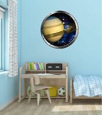 "24"" Porthole Space Window PLANET SATURN #1 SILVER Wall Decal Sticker Art Graphic"