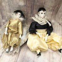 """Vtg 8"""" Porcelain Harlequin Jester Doll Lot Gold Black Silver Heart Pillow"""