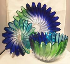 MIKASA~USA~COBALT BLUE~TURQUOISE~GREEN~CLEAR~ART GLASS~PLATES & BOWL~3.65KG