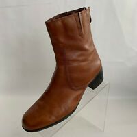 Etienne Aigner Wyle Ankle Boots Back Zip Womens Caramel Leather Round Toe Sz 9M