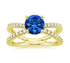 18K Yellow Gold 1.74 Ct Real Diamond Real Blue Sapphire Anniversary Ring Size H