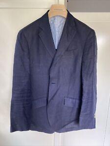 Hackett London Men's 100% Linen Blazer Jacket NAVY  Size 40R Pre Owned - Defect