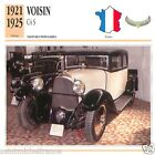 VOISIN C4 S 1921 1925 CAR VOITURE FRANCE CARTE CARD FICHE