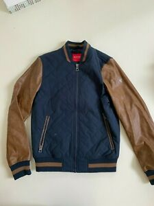 Men's Guess Jacket Logo Faux leather Brown Blue Quilted  Bomber Size M