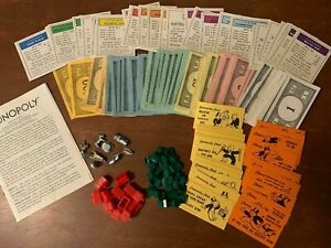 Monopoly Replacement Pieces Money Cards
