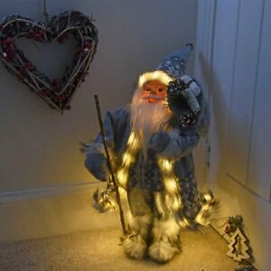 Christmas Santa Decoration Large Ornament Xmas Standing Grey Figure LED 45cm