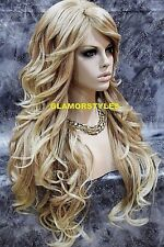 "35"" Long Wavy Layered Blonde Mix Full Synthetic Wig Hair Piece Heat Ok  #T27.613"