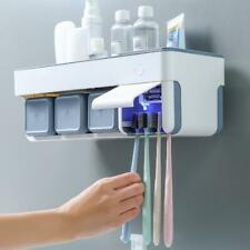 Toothpaste Toothbrush Holder Magnetic Cup Storage Rack Bathroom Wall Mount