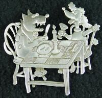 """JJ Vintage Dogs Eating Dinner at a Table, Silver Toned 2 1/2"""" X 2 1/2"""" (Item B1)"""