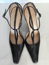 Gucci Black Leather T-Bar Pump Size 8 1/2 PRE-OWNED