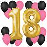 "30"" Large Number '18' Birthday Foil Balloons Pink Black Plain Pannu BALLOONS"