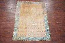 Antique 6X9 Love Bird Cat Hand-Knotted Cotton Area Rug w/ Abrash Oriental Carpet