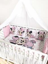 Disney Minnie Mouse crib bedding set.Pink set bumpers. Braided Crib bumper