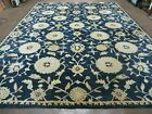 9' X 12' SAFAVIEH Abstract Modern Hand Tufted Wool Rug Floral Flower Nice NAVY