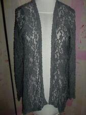 """DAYTRIP"" Sheer Vest, Size Small, Grey, Open Front, Long Sleeves, DESIGNER"