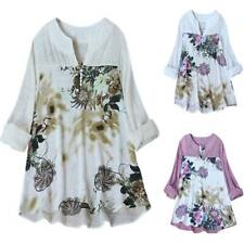 Womens Floral V Neck Long Sleeve Casual Loose Tops Ladies Shirt Blouse Plus Size