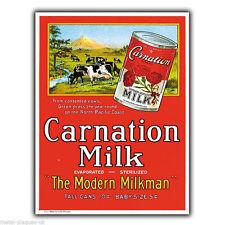 Carnation Milk Letrero de Metal Placa de pared impresión de estilo Vintage y Retro Póster Anuncio década de 1930