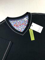 Robert Graham V Neck Short Sleeve T-Shirt Men Black Classic Fit Mens Size 2XL