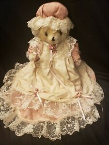 VINTAGE LADY TEDDY BEAR WITH GORGEOUS PINK & LACE DRESS & HAT, BEARLY PEOPLE?