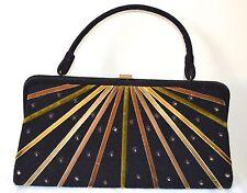 VINTAGE 1950s ART DECO DESIGN SOURE BAG NEW YORK HANDBAG PURSE BLACK & VELVET