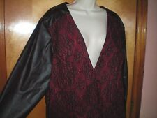 NWT NEW womens size 24 red black faux leather lace ASHLEY STEWART dressy jacket