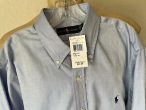 """RALPH LAUREN Men's Blue Oxford Button Up Men's Dress Shirt 16 1/2"""" -36"""" NWT"""