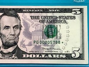 2017A STAR NOTE $5 DOLLAR BILL (CHICAGO) LOW SERIAL NUMBER ,UNCIRCULATED