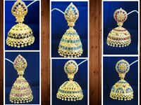 Indian Gold Plated Bridal Wedding Ethnic Party Jewelr Earring Jhumka Jhumki Set