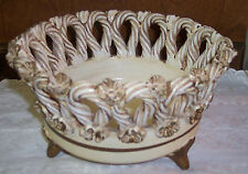 Fratelli Fanciullacci Pottery Majolica Woven Braided Footed Italy Bowl Vintage