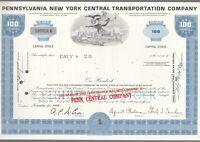 [41778] 1968 PENNSYLVANIA NEW YORK CENTRAL TRANSPORTATION CO. STOCK CERTIFICATE