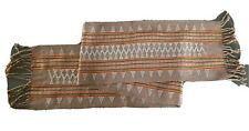 Brown Ethnic Ikat Beaded Scarf Table Runner