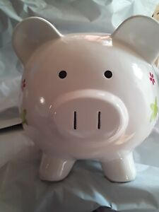 Large Pig Ceramic Piggy Bank Coin Bills White With Flowers