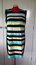 TS Virtuelle black & coloured striped dress  size 18 Brand new with tags