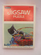 2 Vtg 1967 Jigsaw Puzzle By Western Publishing Co. Kitten 24 Pieces Plastic Case