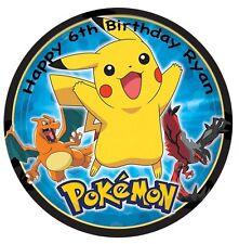 1 x Pokemon 19cm round personalised cake topper edible image