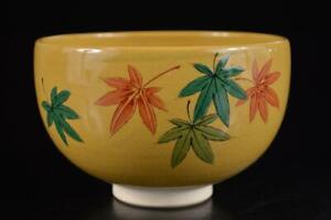 #3708: Japan Kutani-ware Colored porcelain TEA BOWL Green tea tool Tea Ceremony