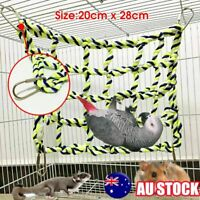 Pet Bird Parrot Hamster Cage Rope Ladder Net Hammock Swing Hanging Perch Toys AU
