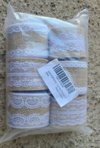 Burlap and Lace Rustic Craft Ribbon 6 rolls 18 Meters Total New Boho wedding