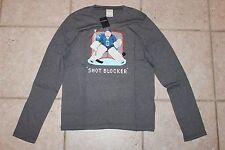 NWT Abercrombie Boys XL Long Sleeve Hockey Shot Blocker Grey T-Shirt LAST ONE!