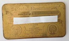 Vintage Catholic Identification Card Brass Saint Christopher