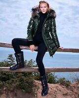 Fox Fur Moncler Aphrotiti Jacket Metallic Cinched Quilted Down Coat Puffer 2GLAM
