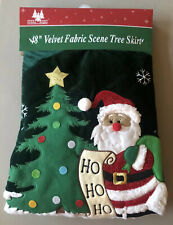 "Holiday Brights 48"" Velvet Fabric Scene Tree Skirt Christmas Holiday Santa Claus"