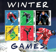 Liberia 2014 MNH Winter Games I 5v M/S Olympics Curling Alpine Skiing Freestyle