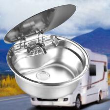 RV Caravan Camper Stainless Steel Hand Wash Basin Kitchen Sink with Lid
