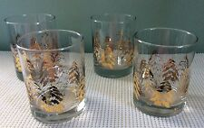 Dansk Rocks Glasses Barware Gold Trees Glass Drink Set 4 Hard to Find Weighted